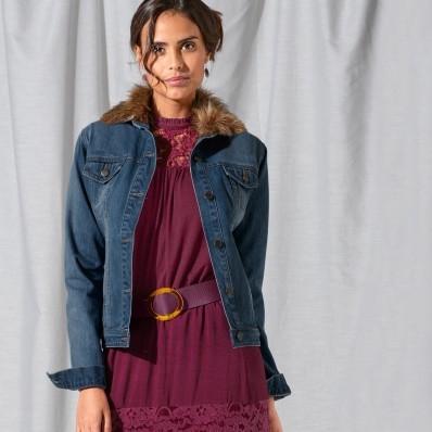 Džínová bunda, imitace kožešiny