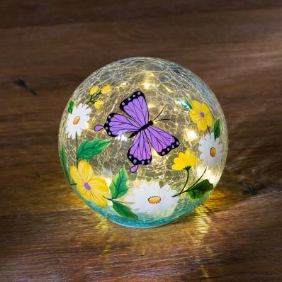 """LED sklenená guľa """"Motýľ"""""""