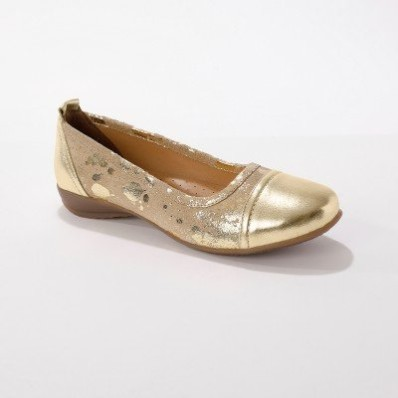 Kožené baleríny, béžové/zlaté