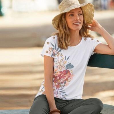 Tričko s potiskem květin a krátkými rukávy