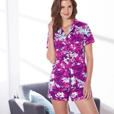 Pyžamo s krátkými rukávy a šortkami, s potiskem květin
