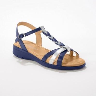 Kožené sandály se splétaným páskem, námořnicky modré