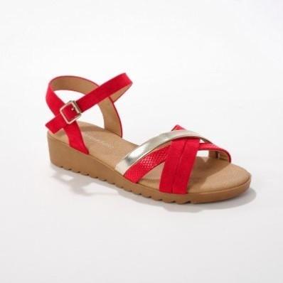 Remienkové sandále, červené/zlaté