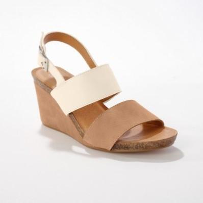 Kožené sandály na klínku, slonová kost/velbloudí
