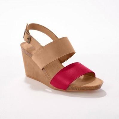 Kožené sandály na klínovém podpatku, přírodní/ černé