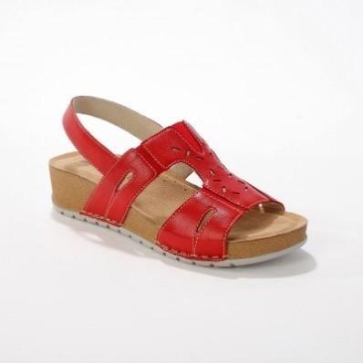 Kožené sandále pre širšie chodidlá, červené