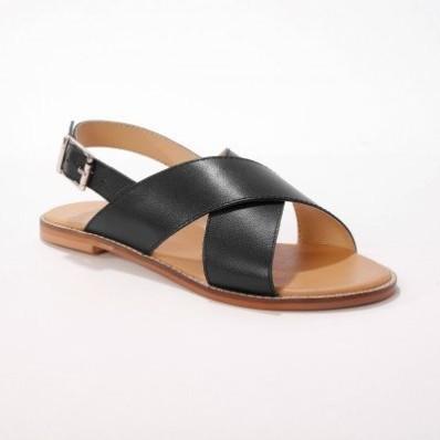Ploché kožené sandále, čierne