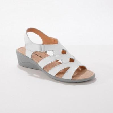 Sandále na suchý zips, pre širšie chodidlá, biele