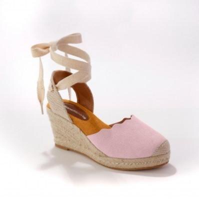 Sandály na klínku, se zavázáním, růžové