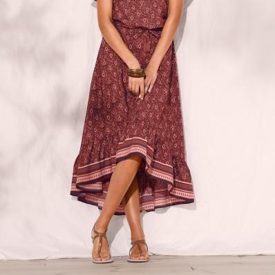 Volánová asymetrická dlhá sukňa, s potla