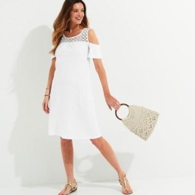 Jednobarevné krátké šaty s macramé, eco-friendly