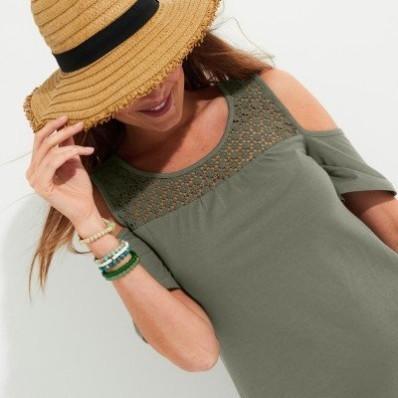 Jednobarevné šaty s macramé, eco-friendly