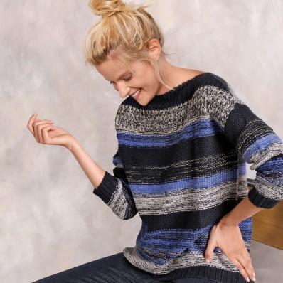 Pruhovaný pulovr se zlatým vláknem