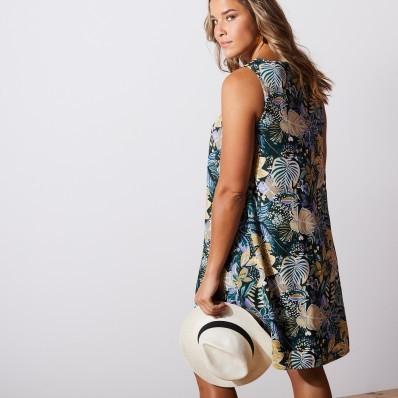 Šaty s tropickým vzorom