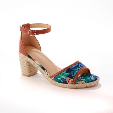 Sandály s tropickým vzorem, námořnicky modré