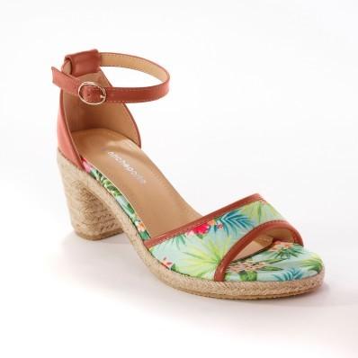 Sandále s tropickým vzorom, blankytná