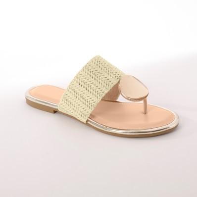Žabkové sandály v lýkovém vzhledu, béžové
