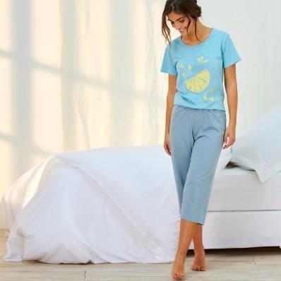 Pyžamo se 3/4 kalhotami a potiskem, ekologická výroba, bio bavlna