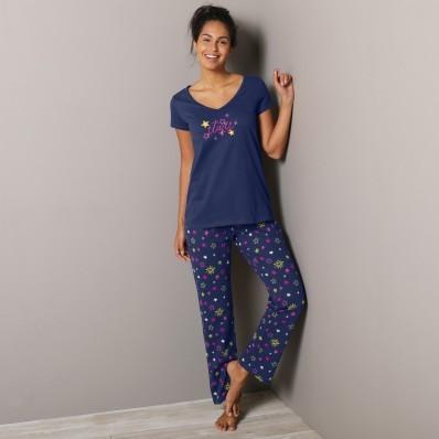 3/4 pyžamové kalhotky s potiskem hvězdiček Estrella