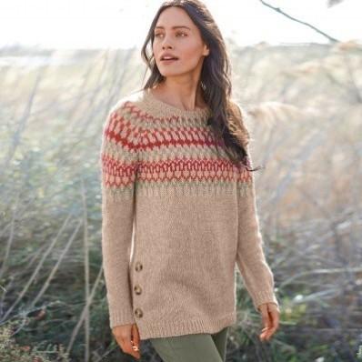 Žakárový pulovr s knoflíkovým rozparkem