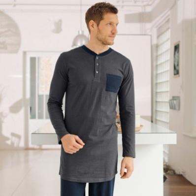 Pyžamové tričko s tuniským výstřihem, šedé