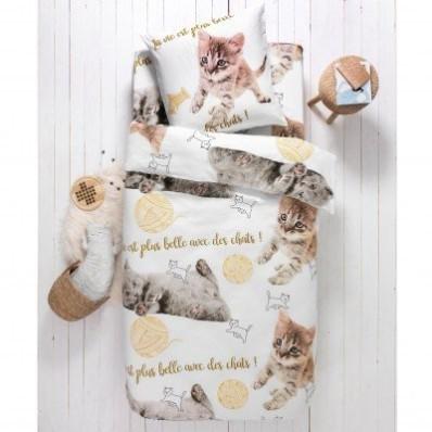 Detská posteľná bielizeň Mimi, bavlna, s potlačou mačiek