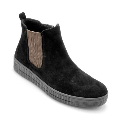 Kožené vysoké topánky, čierne