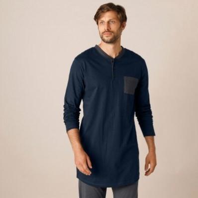 Pyžamové tričko s tuniským výstřihem, námořnicky modré