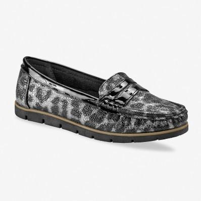 Třpytivé mokasíny, leopardí šedo/ černé