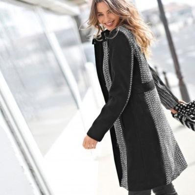 Tvídový dvoubarevný kabát na zip