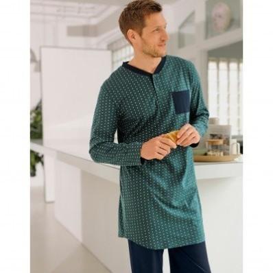 Pyžamové tričko s tuniským výstřihem a potiskem