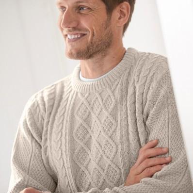 Irský pulovr s kulatým výstřihem