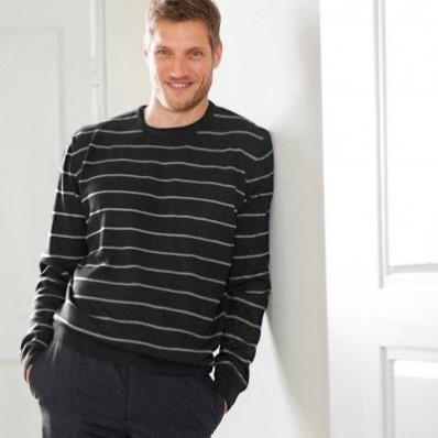 Pruhovaný pulovr s kulatým výstřihem, kašmírový na dotek