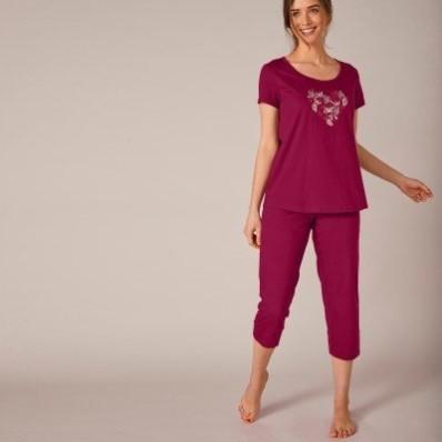Pyžamo s potiskem motýlků, se 3/4 kalhotami