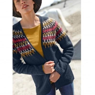 Žakárový sveter bez zapínania