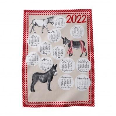 Sada 3 utěrek s potiskem kalendáře 2022, bavlna