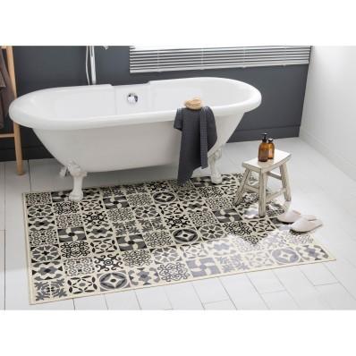 Vinylový koberec, motiv dlaždice, šedý