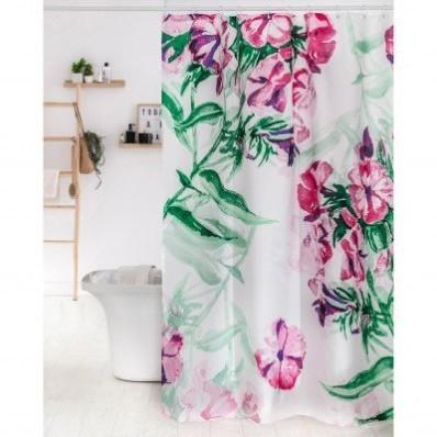 Koupelnový závěs s potiskem květin