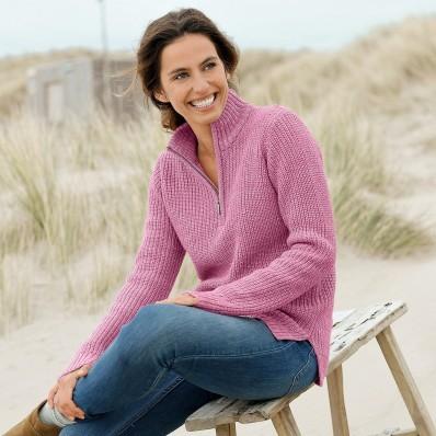 Vlněný pulovr se stojáčkem, anglický úplet