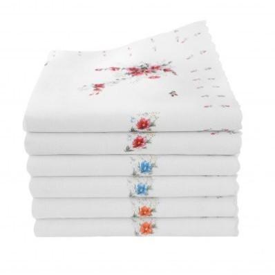 Dámské kapesníky s potiskem květin Kelly, sada 6 nebo 12 ks