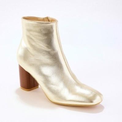 Vysoké topánky na podpätku, zlatý lesk