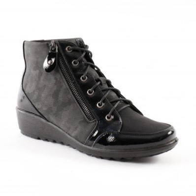Pohodlná obuv na klínku, ze 2 materiálů a se zipem