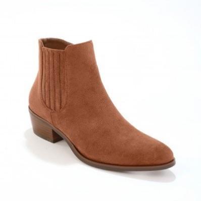 Vysoké topánky na podpätku, western štýl, karamelové