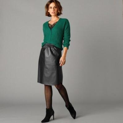 Rovná koženková sukně