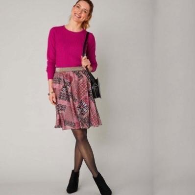 Krátká rozšířená sukně s patchwork potiskem