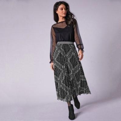 Dlouhá plisovaná sukně s potiskem