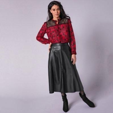 Koženková (1) midi sukně v rozšířeném střihu