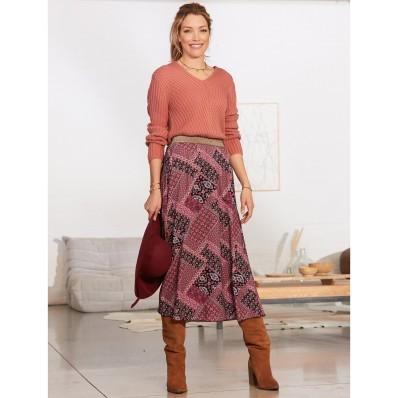 Dlouhá rozšířená sukně s patchwork potiskem