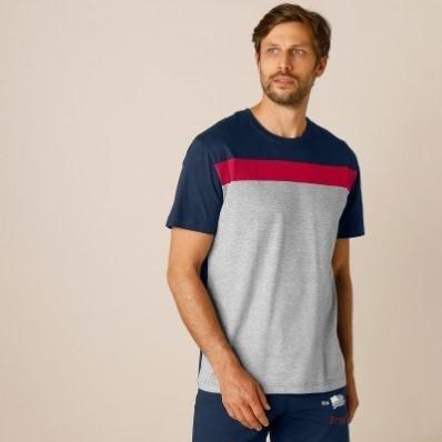 Pyžamové tričko s krátkými rukávy, trojbarevné