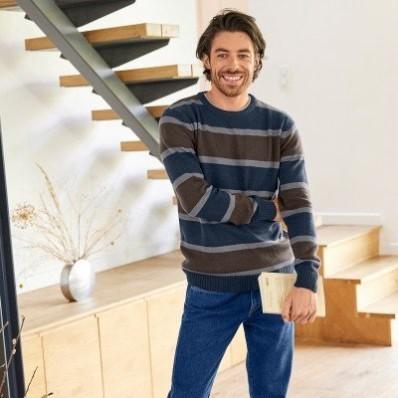 Pruhovaný pulovr s příměsí vlny